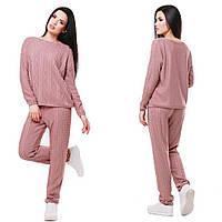 Женский модный вязаный костюм: свитер и брюки (2 цвета)