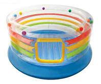 Батут комнатный детский Intex 48264, круглая форма, ПВХ, усиленное дно, высокие борта, диаметр 182см