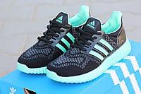 Женские кроссовки Adidas Ultra boost черные с мятным 2027