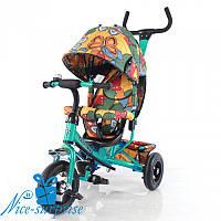 Детский велосипед с родительской ручкой TILLY TRIKE T-351-7 Бабочки (зелёный)