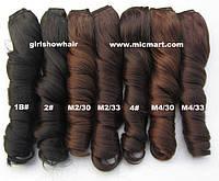 Накладные термо волосы для наращивания на заколках кудрявые, затылочная прядь