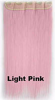 Термо волосы на заколках, затылочная прядь. Прямые, наращивание light Pink