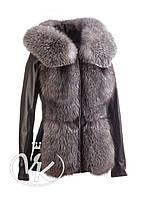 Куртка кожаная с мехом и капюшоном, фото 1