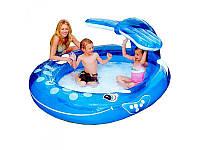 Надувной игровой бассейн Кит с душем 57435 Intex: винил, d  ̴208 см, надувное дно