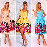 Стильный женский сарафан с поясом принт цветы / Украина / коттон