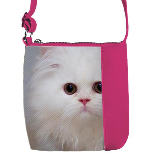 Розовая сумка для девочки Mini Miss с принтом Белая кошка