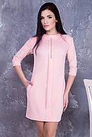 Трикотажное розовое платье Искра ТМ Irena Richi 42-48 размеры