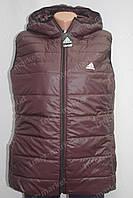 Женская спортивная жилетка безрукавка в стиле ADIDAS батал коричневая, фото 1