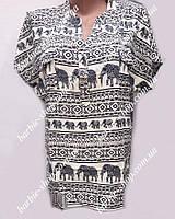 Женская футболка с красивым орнаментом Батал 4167