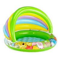 Надувной бассейн для малышей с навесом Intex 57424, 102х102х69 см, 45 л, надувное дно, 9+ месяцев