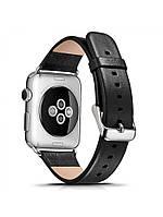 Ремешок I-Сarer для смарт-часов Apple Watch 38 мм Luxury Genuine Leather Series Black