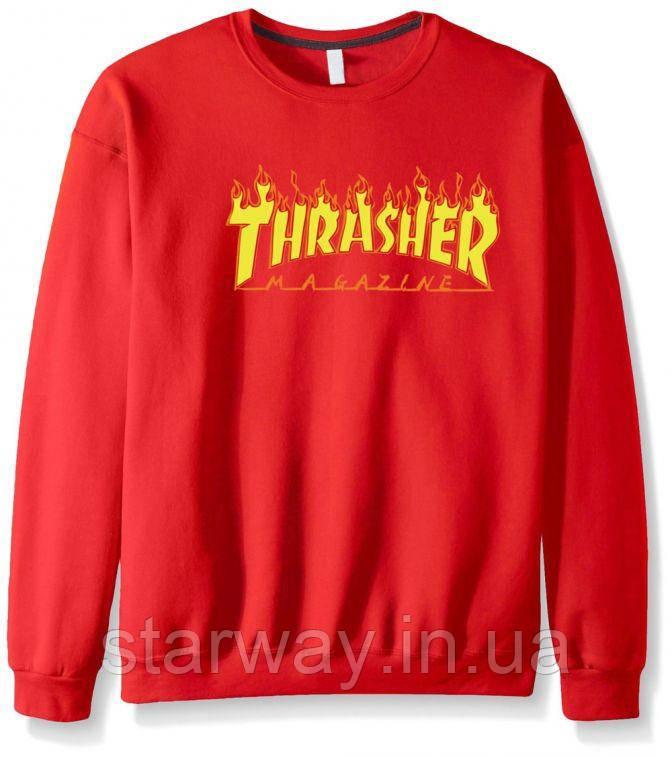 Свитшот красный огненный принт Thrasher | кофта