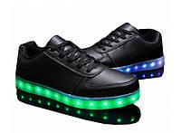 LED кроссовки Simulation Черные унисекс, 11 режимов подсветки, шнурок, размер 36-42