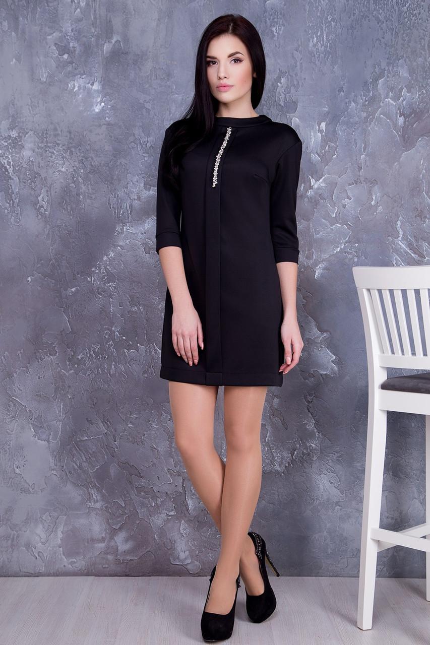 c58b2b8a1192606 Трикотажное черное платье Искра ТМ Irena Richi 42-48 размеры -  Интернет-магазин одежды