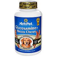 Actipet, Глюкозамин с кусочками бекона для собак, с натуральным вкусом бекона, 90 жевательных таблетки