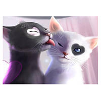 Алмазная вышивка 5D, Кошачья любовь 40*30