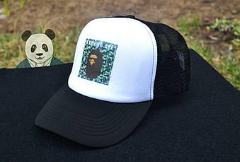 Спортивная кепка Bape, Бейп, тракер, летняя кепка, мужская, женская, черного и белого цвета, копия