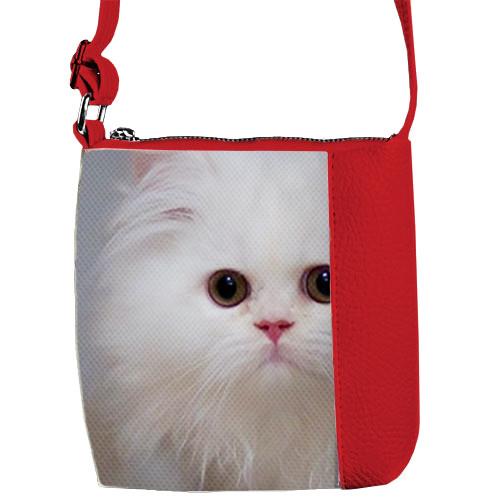 Красная сумка для девочки с принтом Милая кошка
