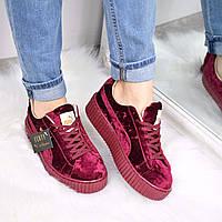 Кроссовки криперы женские Puma Rihanna бордо, спортивная обувь