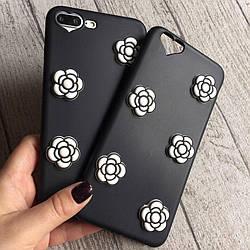 Силиконовый чехол с белыми розами для iPhone 6 Plus/6s Plus
