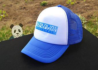 Спортивная кепка Napapijri, Напапиджи, тракер, летняя кепка, унисекс, синего и белого цвета, копия