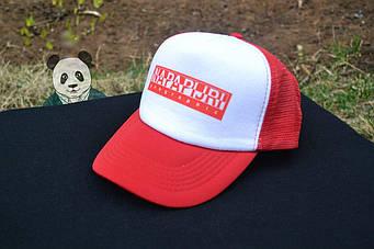 Спортивная кепка Napapijri, Напапиджи, тракер, летняя кепка, унисекс,красного и белого цвета, копия