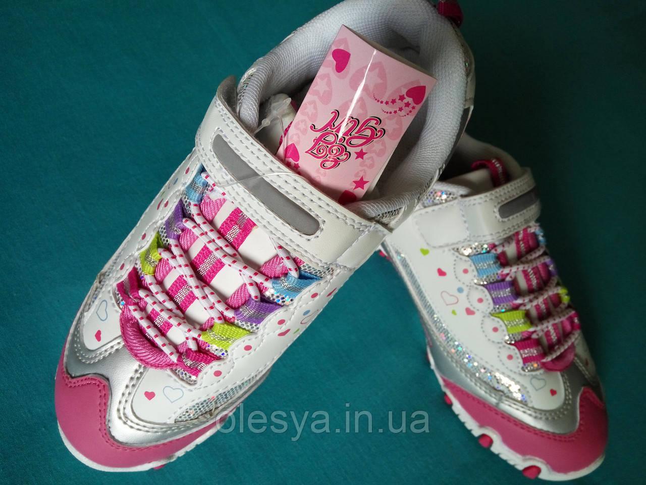 Кроссовки детские на девочку размер 35 Розово-белые Польша