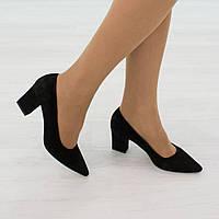 Туфли из натуральной замши черный