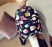 Рюкзак женский кожзам маленький городской Цветочный принт