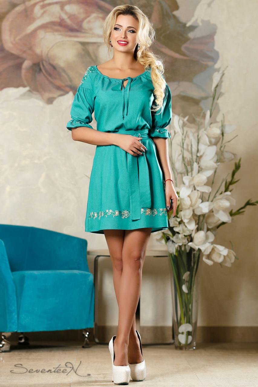 bf41214613f024c Женское летнее платье с вышивкой зелёное: продажа, цена в Харькове ...