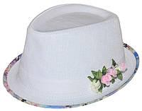Шляпа челентанка цветы лен белый+матиола цветная