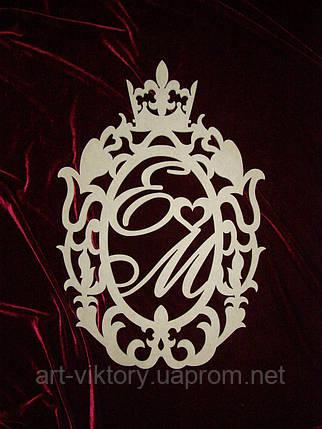 Герб с инициалами (59 х 39 см), декор, фото 2