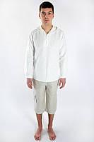 Мужская рубаха из натурального белорусского льна свободного кроя с капюшоном и без для города и пляжа.