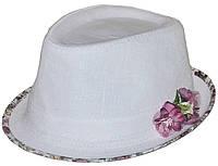 Шляпа челентанка цветы лен белый+прованс розовый