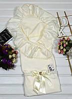Необыкновенный летний конверт-одеяло с уголком на выписку. Молочный цвет. Качество!