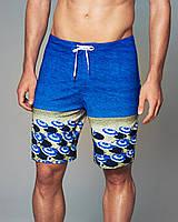 Синие пляжные шорты с принтом  Abercrombie&Fitch