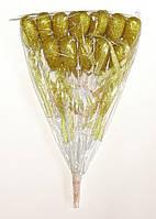Сердце на палочке с блестками и бантиком | Золото( В упаковке 12 шт.)