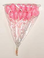 Сердце на палочке с блестками и бантиком | Pозовый (В упаковке 12 шт.)