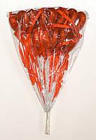 Полое сердце на палочке с блестками и бантиком | Красный (В упаковке 12 шт.)