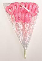 Полое сердце на палочке с блестками и бантиком | Розовый (В упаковке 12 шт.)