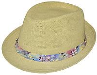 Шляпа челентанка солома жемчуг матиола цветная