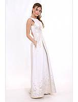 Свадебное платье в пол из жаккарда