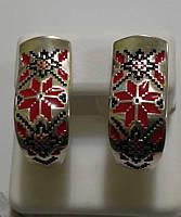 Сережки зі срібла Вишиванка з червоною емаллю, фото 1