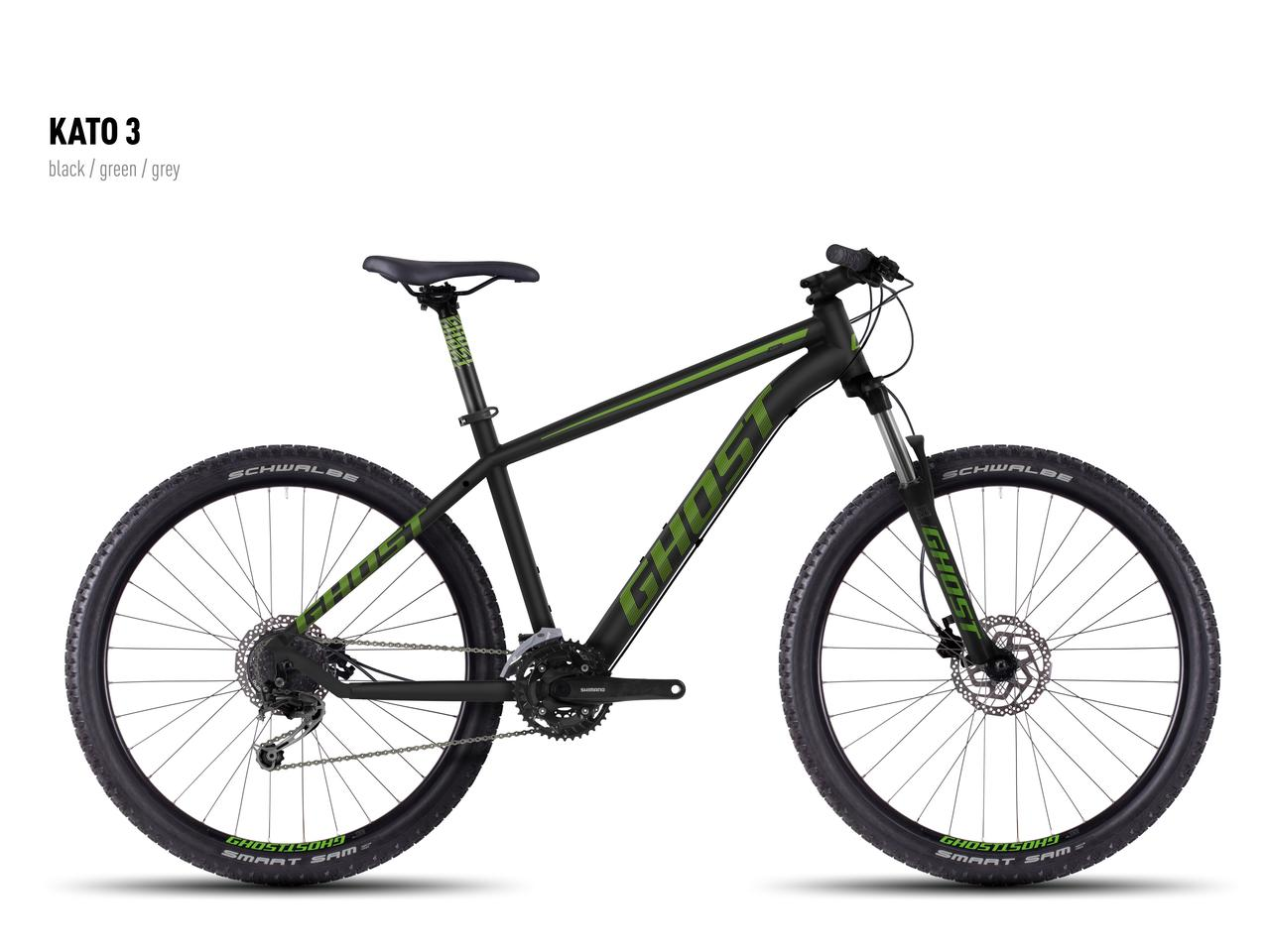 """Велосипед Ghost 27,5"""" Kato3 2016 рама L чорний/зелений black/green/gray (16KA3732)"""