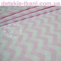 Ткань с зигзагом розового цвета, плотность 125 г/м2 (№ 735а)