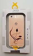 Чехол на Айфон 6/6s XO Тюльпан ТПУ со Стразами Прозрачный , фото 1
