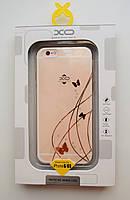 Чехол на Айфон 6/6s XO Бабочки ТПУ со Стразами Прозрачный , фото 1