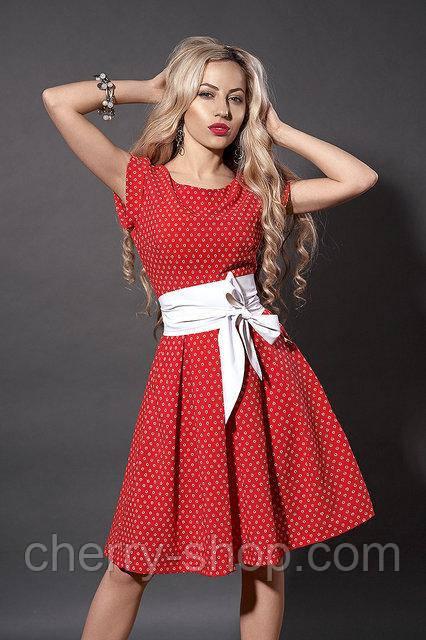 7bc5dd666fb Женственное красное платье с поясом