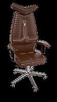 """Кресло Jet (Джет) экокожа коричневая,шов """"QUATRO"""" (ТМ Kulik System)"""