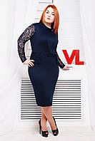 Нарядное трикотажное платье Люси синий гипюр 48 Синий